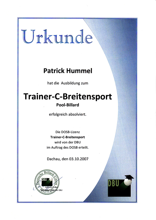 Urkunde Trainer C Breitensport Pool Billard