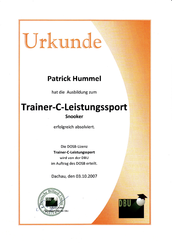 Urkunde Trainer C Leistungssport Snooker
