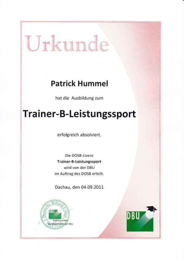 Urkunde Trainer B Leistungssport Billard